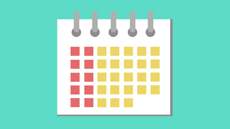 A scheduling calendar