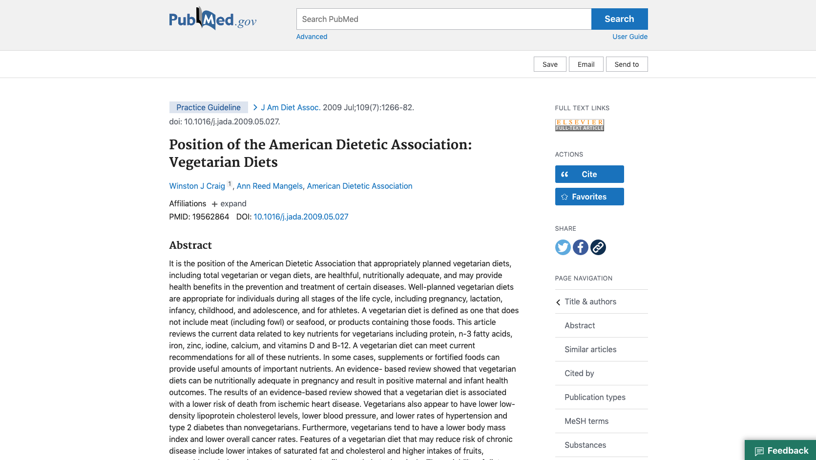 Position of the American Dietetic Association Vegetarian And Vegan Diets