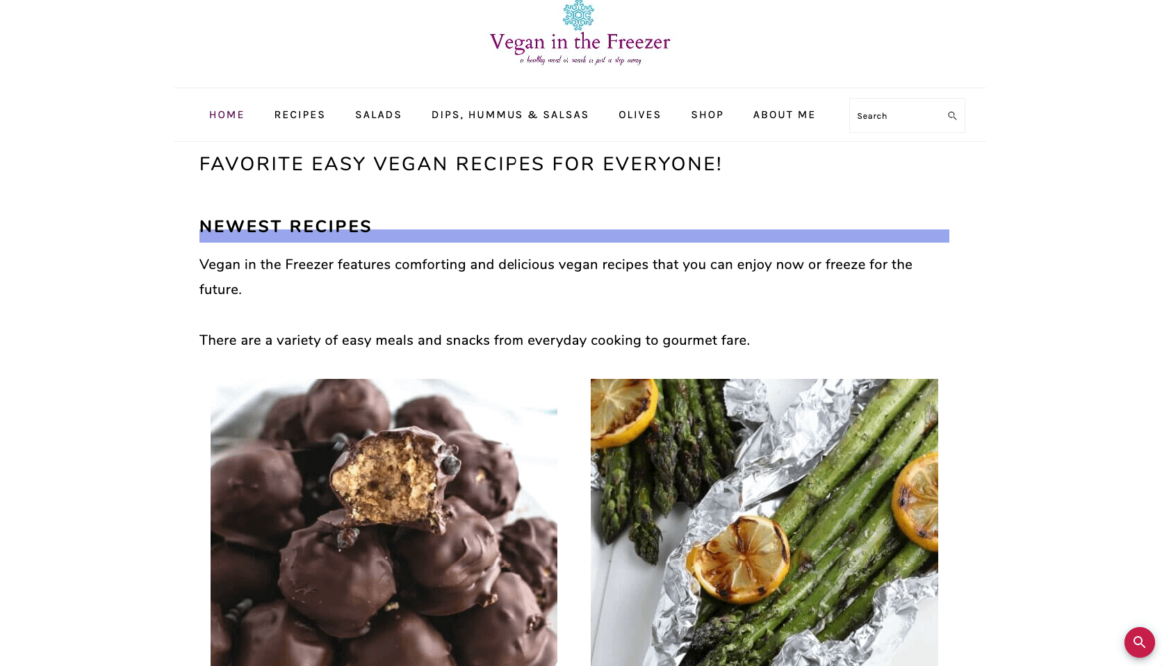 Delicious Freezable vegan recipes